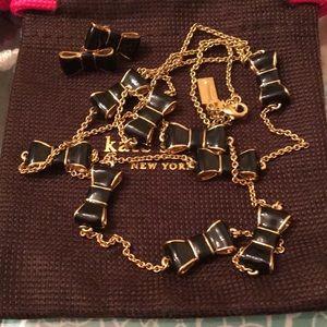 Kate Spade Black Bow Necklace & Earrings Set